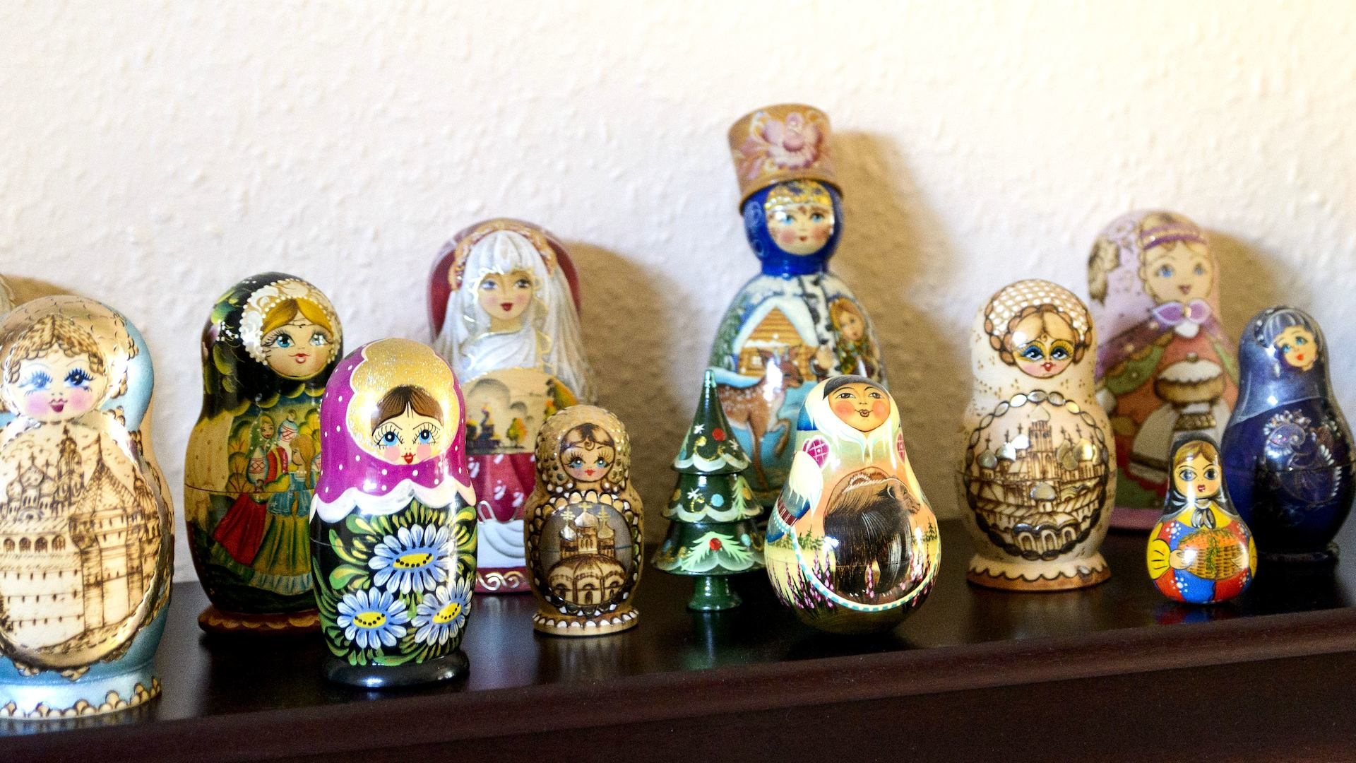 Russian dolls on a sideboard