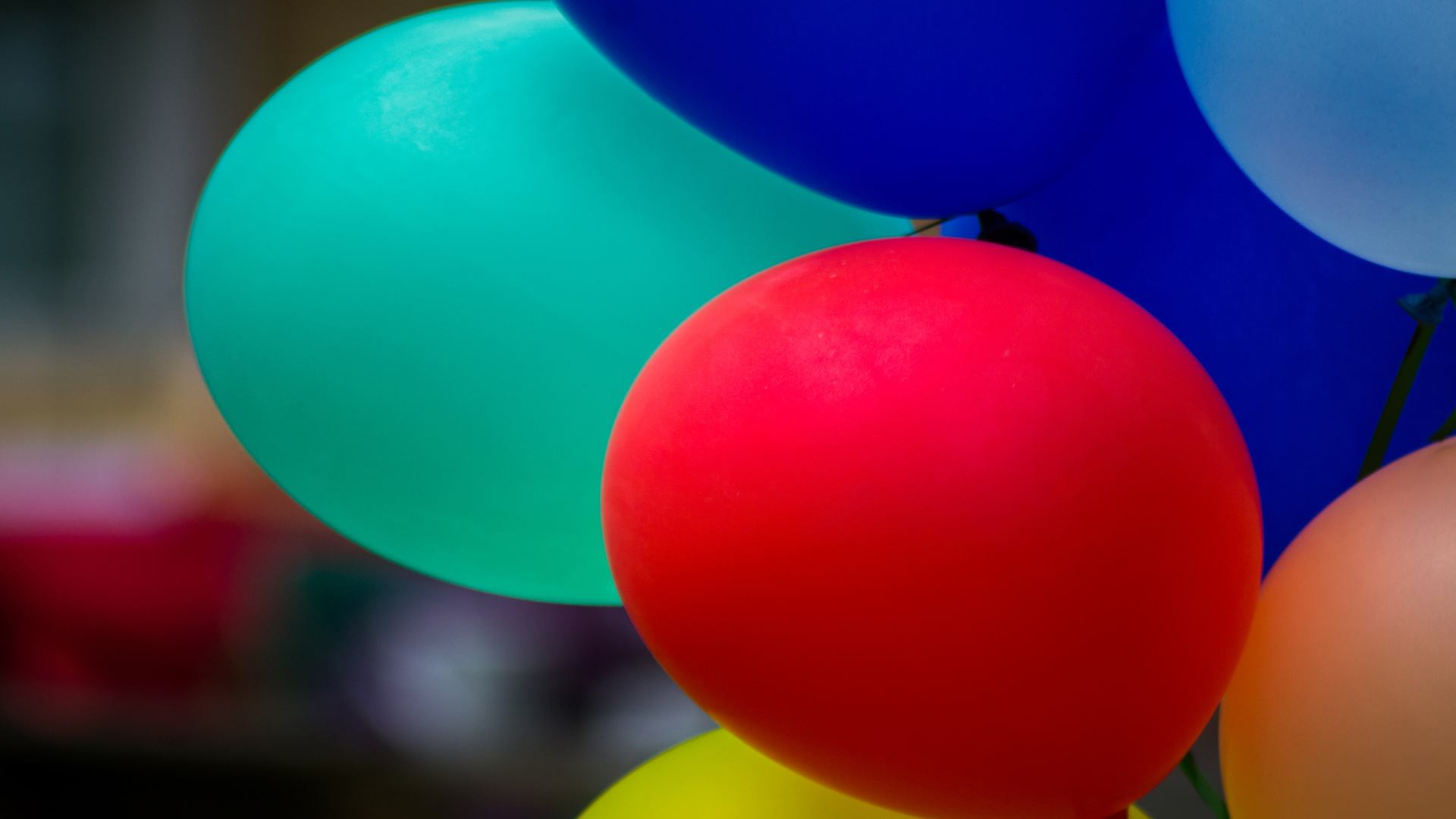 Brightly coloured balloonhs