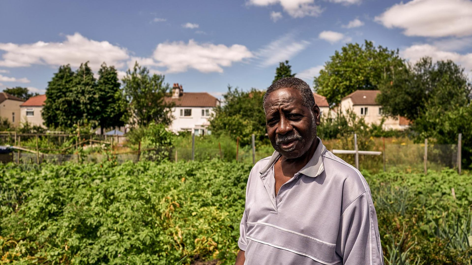 Older man in allotment smiling at camera