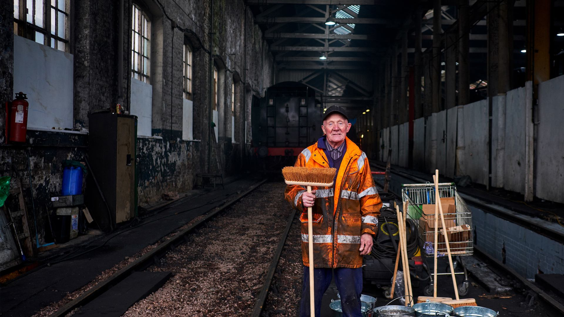 a male railway volunteer