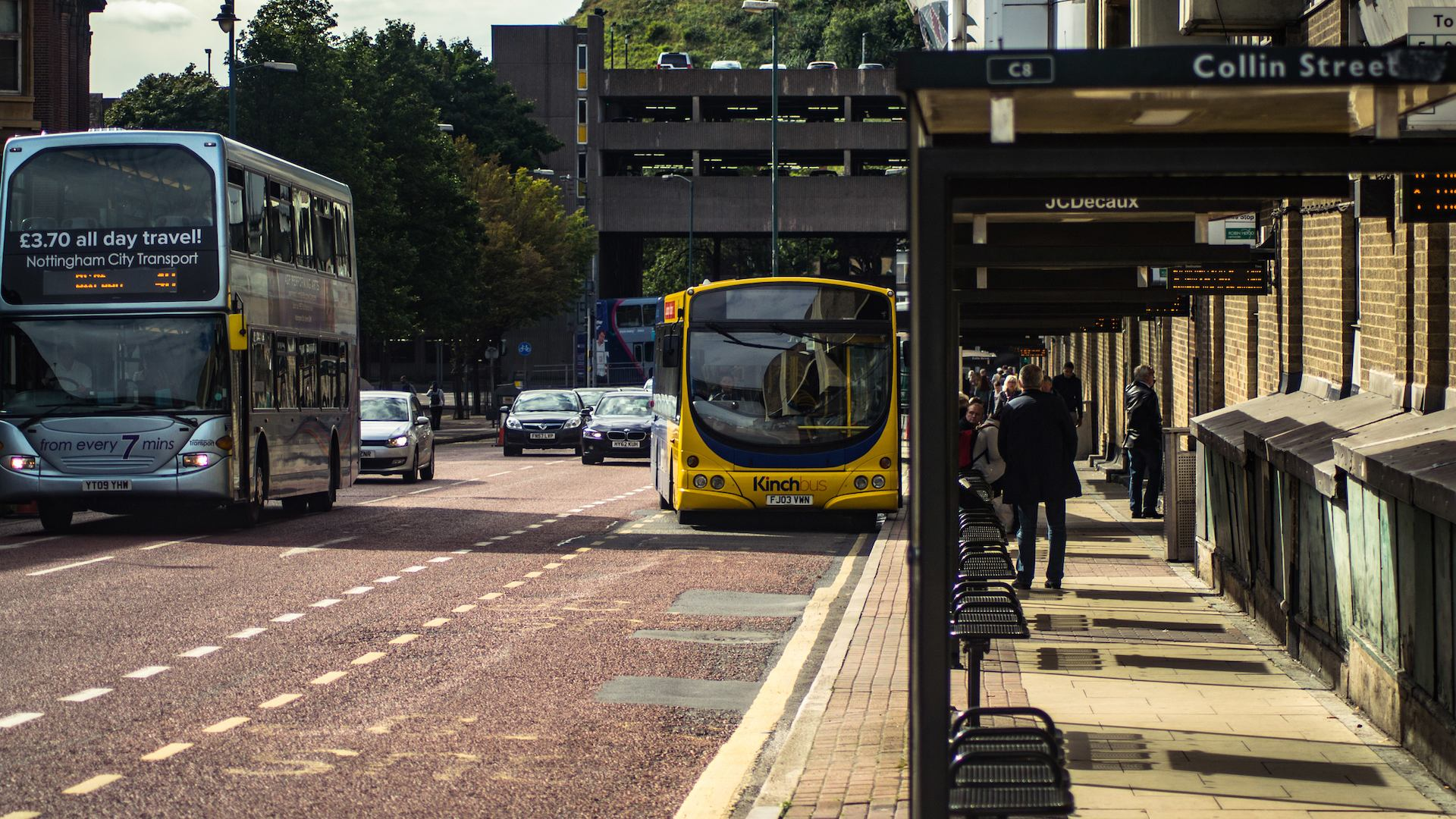 Bus in city centre