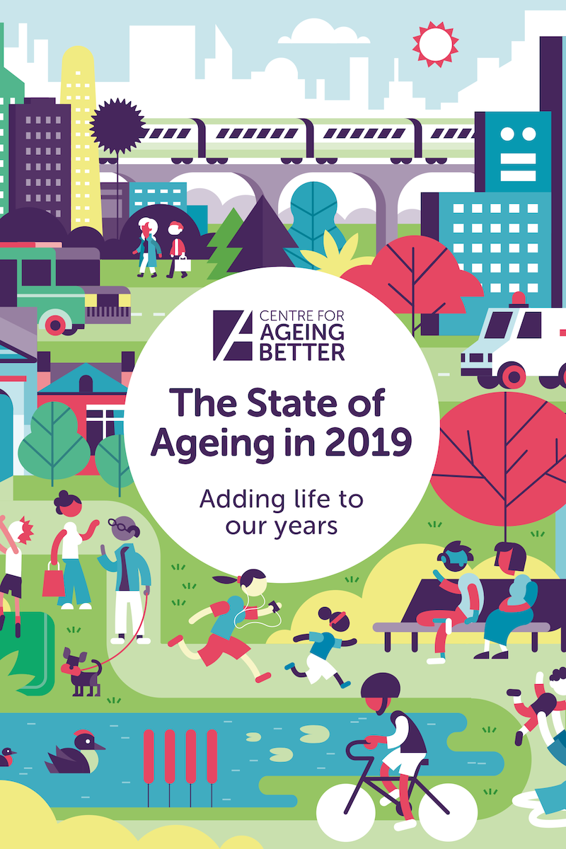 Front cover for State of Ageing in 2019, showing illustration of a world where everyone ages well