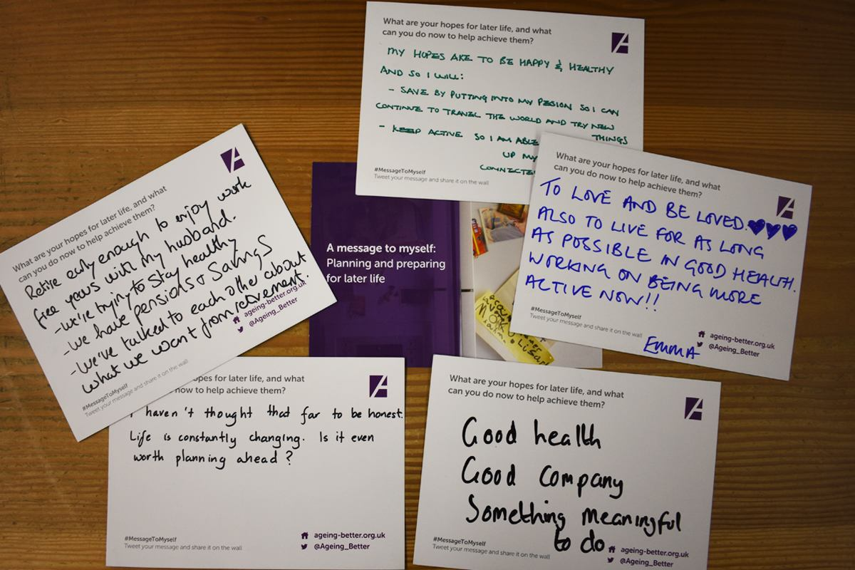 Postcards with messages on people's wishes for their later life