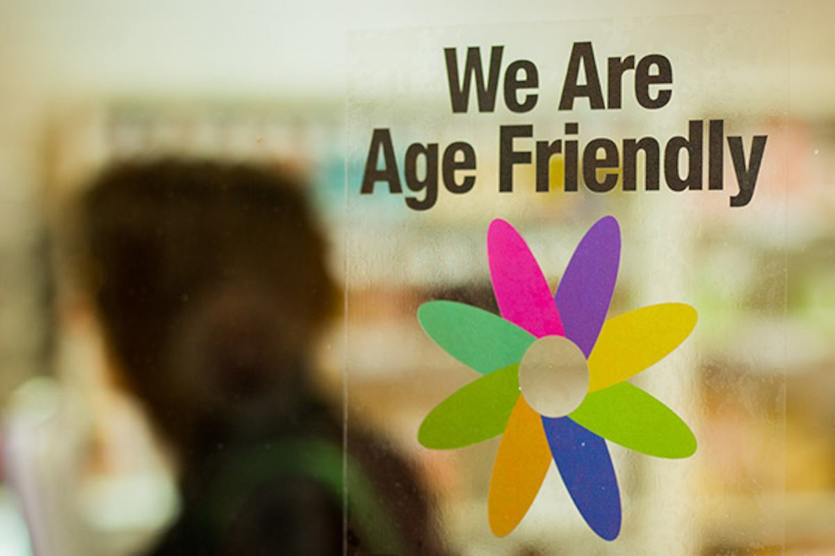 we are age friendly sticker