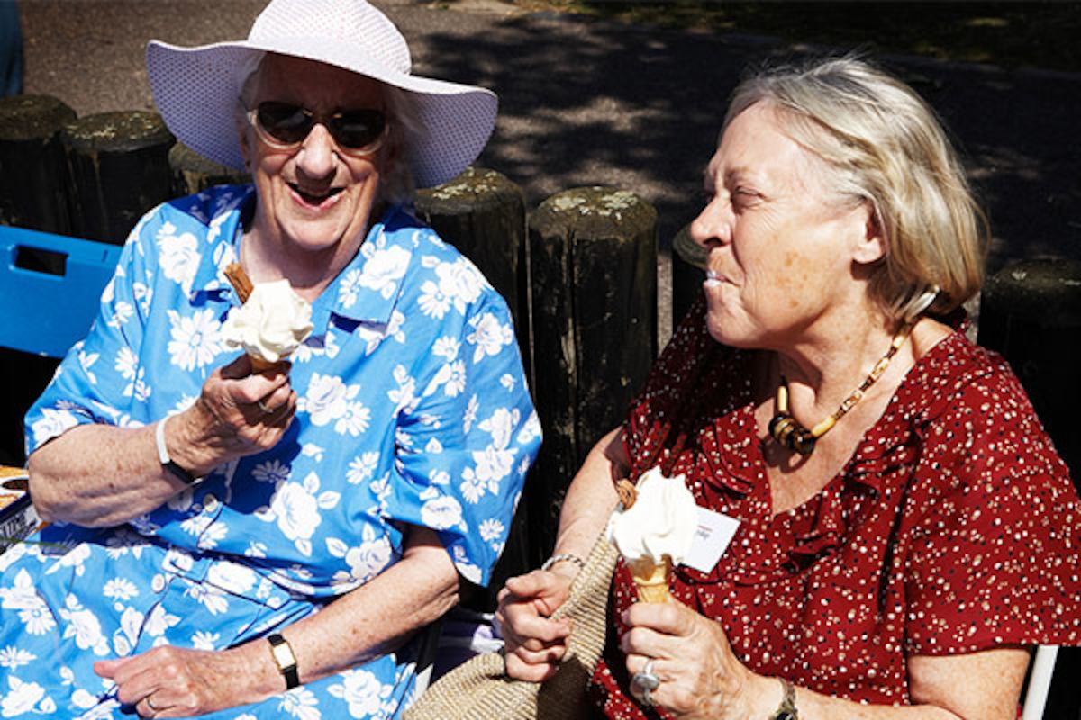 Ladies eating ice cream