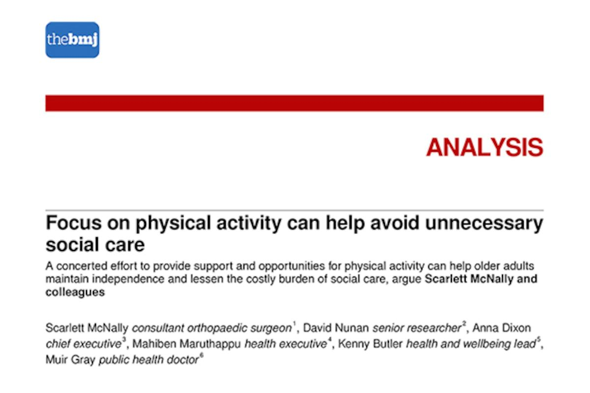 Focus on physical activity can help avoid unnecessary social care
