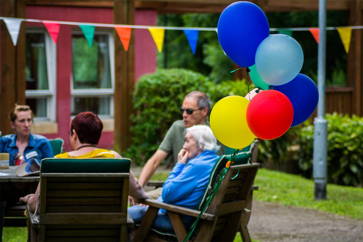 Care home with balloons