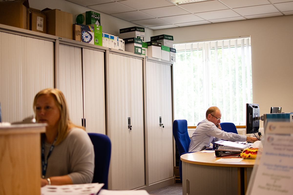 Office with older worker