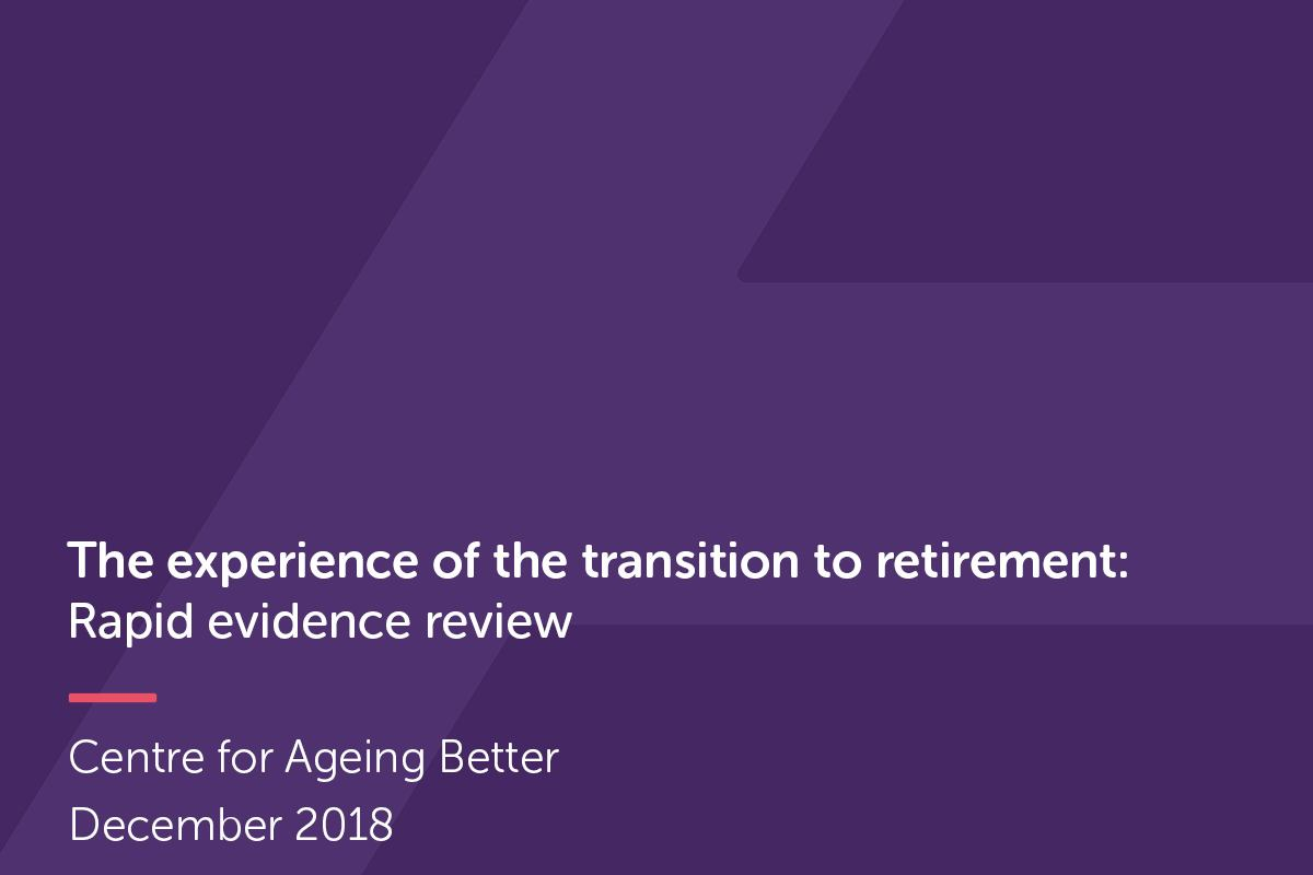 A cropped section of 'The experience of the transition to retirement' publication cover.