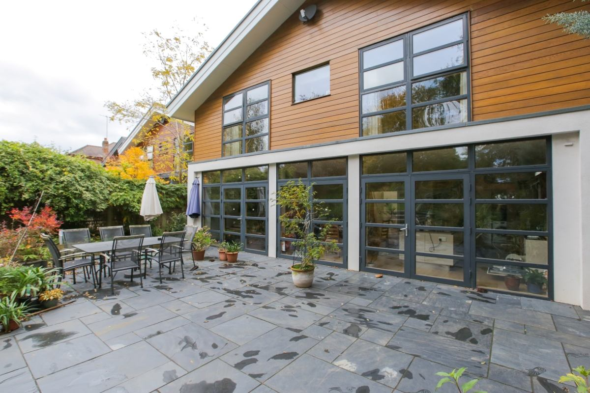 exterior view of an accessible, sustainable home and garden