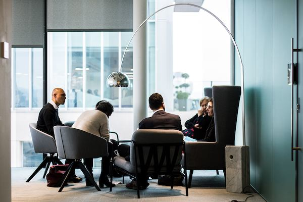 Group of people sitting in a business environment